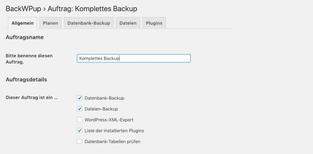 Screenshot: Mittels BackWPup ein WordPress Backup erstellen