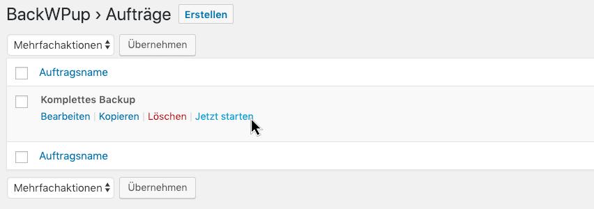 Screenshot: WordPress sichern und backupen mit BackWPup