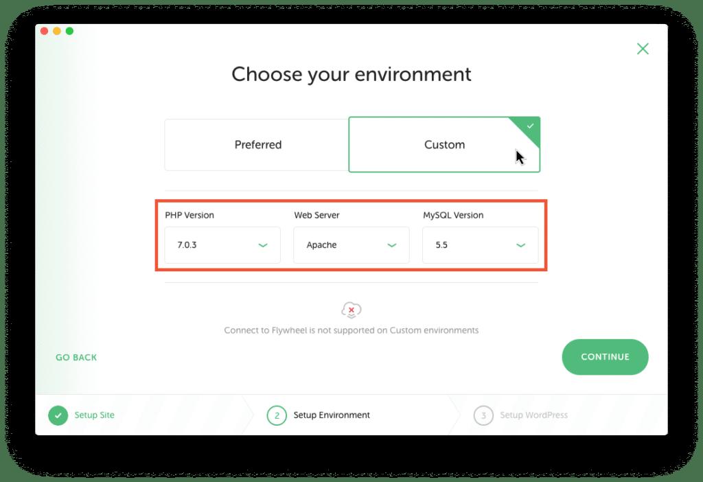 Screenshot: Server-Einstellungen für die Testumgebung auswählen