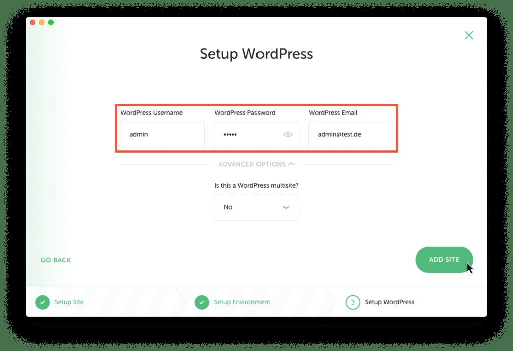 Screenshot: WordPress Login-Daten in Local angeben